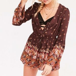 Ecote Helena Brown Floral Romper Long Sleeve Small